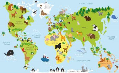 Wall mural Funny cartoon world map with traditional animals of all the continents and oceans. Vector illustration for preschool education and kids design