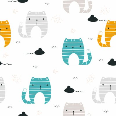 Wall mural Funny cat with mouse seamless pattern. Childish print. Vector hand drawn illustration.
