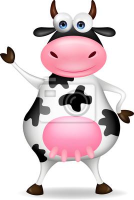 Wall mural Funny cow waving