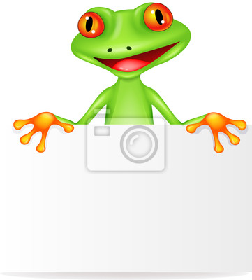 Wall mural Funny frog cartoon with blank sign
