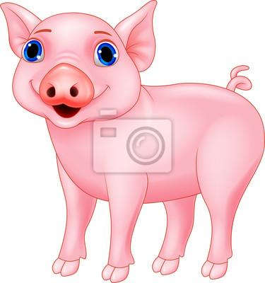 Wall mural Funny pig cartoon
