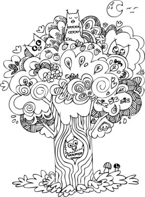 Wall mural Funny tree with cute howls