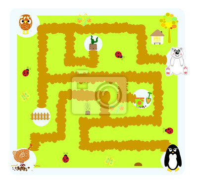 funny vector labyrinth for children