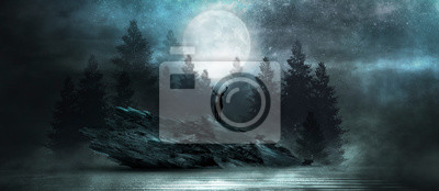 Wall mural Futuristic night landscape with abstract forest landscape. Dark natural forest scene with reflection of moonlight in the water, neon blue light. Dark neon circle background, dark forest, deer.