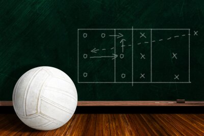 Wall mural Game Concept With Volleyball and Chalk Board Play Strategy