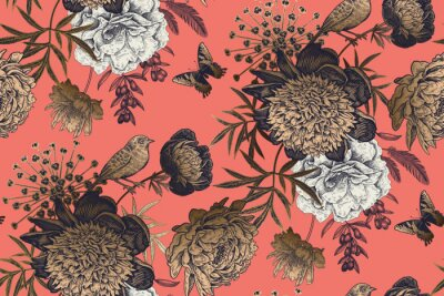 Wall mural Garden flowers peonies on a coral background. Luxury seamless pattern.
