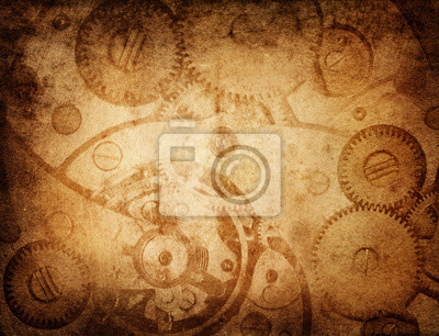 Gears and cogs worn paper background