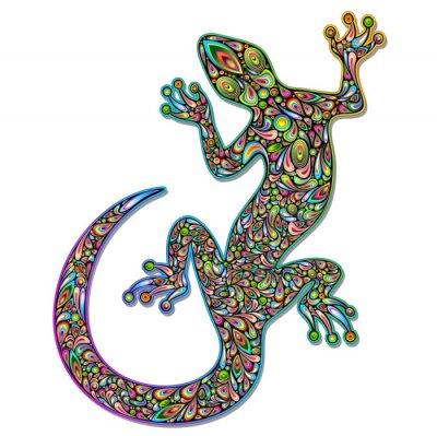 Wall mural Gecko Geko Lizard Psychedelic Art Design-Geco Psichedelico