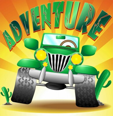 Wall mural GEEP Car SUV Jeep Adventure Adventure -Vector