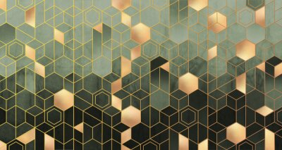 Wall mural Geometric abstraction of hexagons in green tones on a raised background with gold elements.