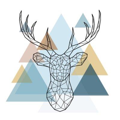 Wall mural Geometric deer head. Scandinavian style