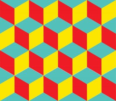 Wall mural Geometric vector background. Cube shapes. Optical illusion