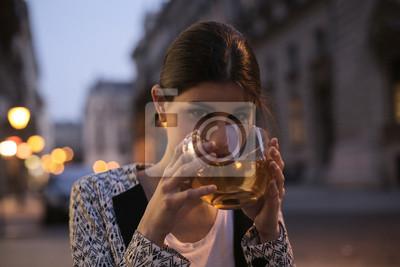 Girl drinking a hot tea