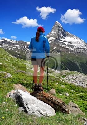 Girl looking at the beautiful Mount Matterhorn