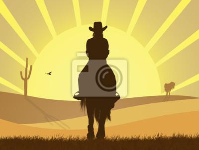 Wall mural girl on horseback in the desert