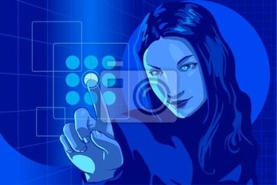 girl pushing virtual touch screen access button