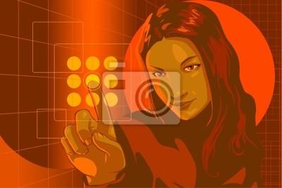 girl pushing virtual touch screen access button in virtual room