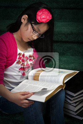 Wall mural Girl Reads Book