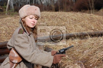 Wall mural Girl-soldier WWII. Soviet. Reenacting