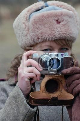 Girl-soldier WWII. Soviet. Reenacting