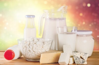 Glass of milk  and Dairy products on  background