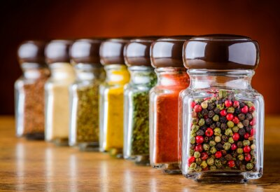 Wall mural Glass Pepper and Spices