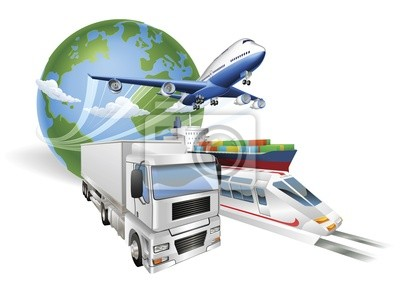 Wall mural Global logistics concept airplane truck train ship