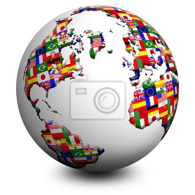 Wall mural Globo - Bandiere Flags Globe Globe Drapeau 2