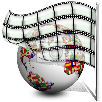 Globo Film Bandiera-Flag Film Globe-Globe Drapeau Cinema