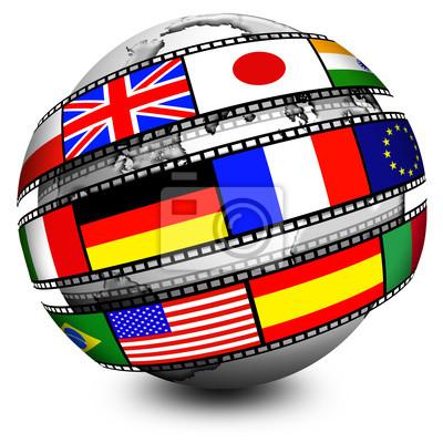 Globo Film Bandiere -Film Flags Globe-Globe Film Drapeau