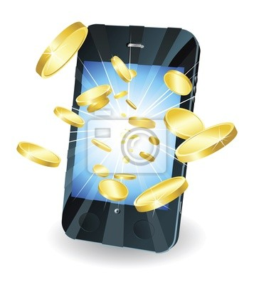 Wall mural Gold coins flying out of smart mobile phone