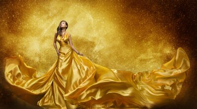 Wall mural Gold Fashion Model Dress, Woman Golden Silk Gown Flowing Fabric