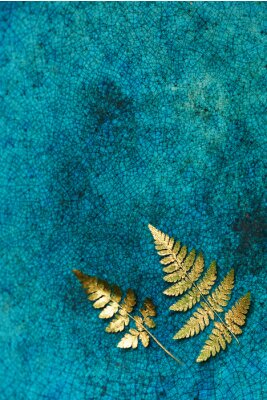 Wall mural gold fern leaves