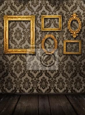 Gold frames, retro wallpaper, spotlights from above