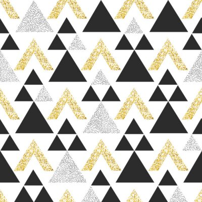 Wall mural Gold geometric triangle background. Abstract seamless pattern with triangles in gold and dark gray.