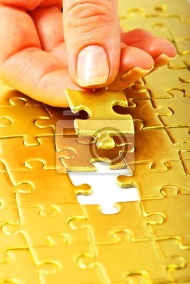 Wall mural gold puzzle