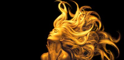 Wall mural Gold Woman. Beauty fashion model girl with Golden make up, Long hair on black background. Gold glowing skin and fluttering hair. Metallic, glance Fashion art portrait, Hairstyle. Fashion art design