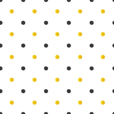 Wall mural Golden and black polka dots seamless pattern background.