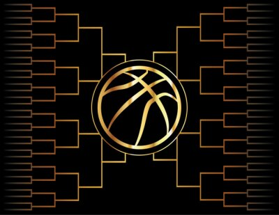 Wall mural Golden Basketball Icon and Bracket