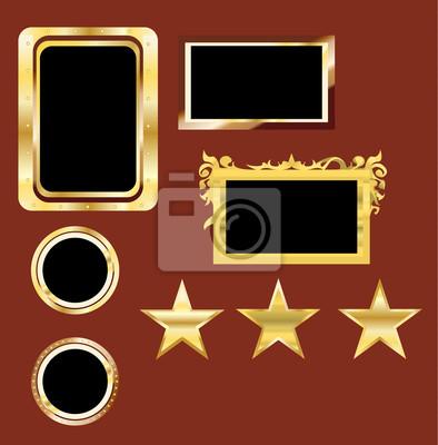 golden frame set and starts vector