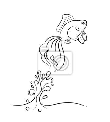 Wall mural goldfish jumping