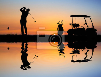 Wall mural Golf at sunset