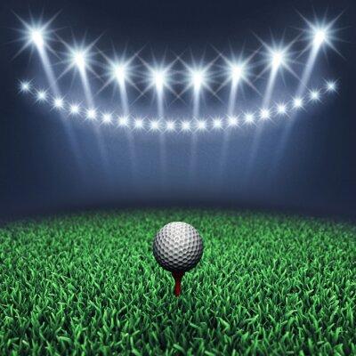 Wall mural Golf ball on grass and spotlights , Golf tournament , Golf course