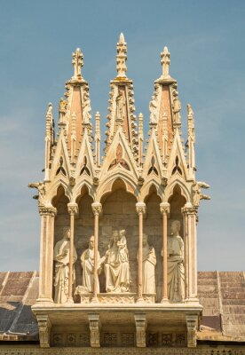Gothic chapel with figures of  Virgin Mary and  Apostles