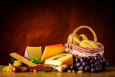 Wall mural Gouda Cheese and Basket Bun