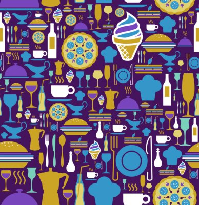Wall mural Gourmet icon set seamless pattern.