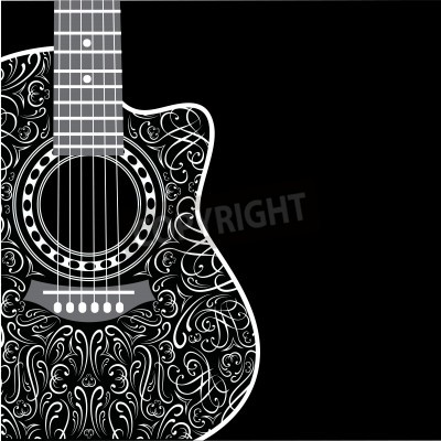Wall mural gradient background with clipped guitar and stylish ornament