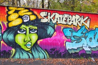 Wall mural Graffiti brick wall art in germany