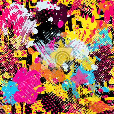 Graffiti bright psychedelic seamless pattern vector illustration