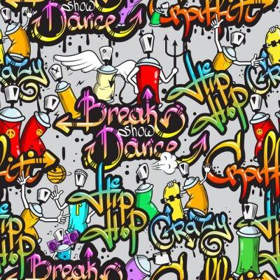 Wall mural Graffiti characters seamless pattern